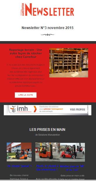 Newsletter de solutions-manutention le magazine de la manutenion